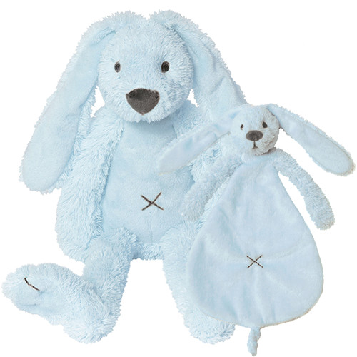 Geboorte knuffels - Blue Rabbit Richie 28cm + tuttle